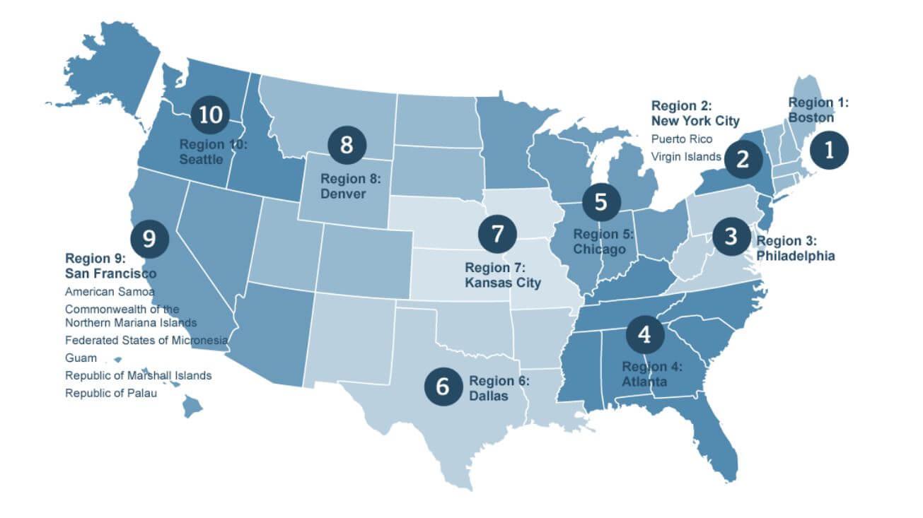 Children's Bureau Regions Map
