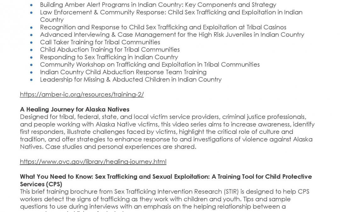 Sex Trafficking Prevention: Training Resources for Tribal Child Welfare Staff