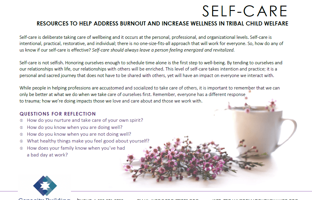 Self-Care: Resources to Help Address Burnout and Increase Wellness in Tribal Child Welfare