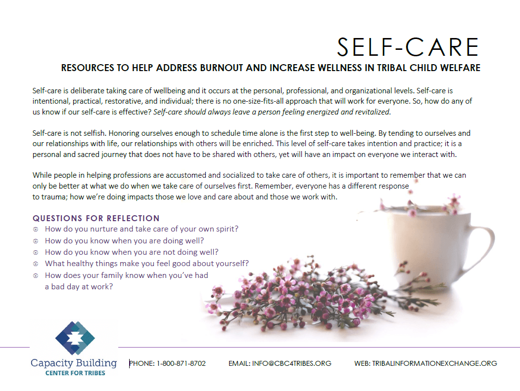 Self-care resource list cover
