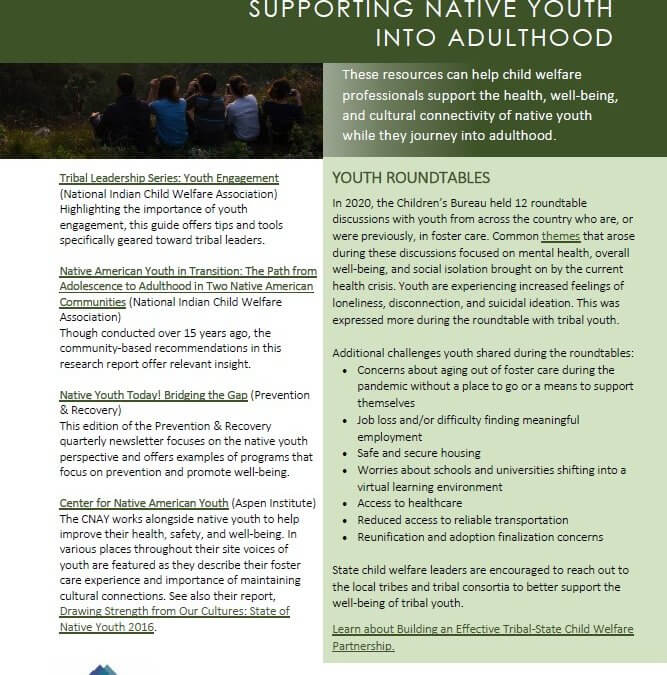 supporting native youth into adulthood cover