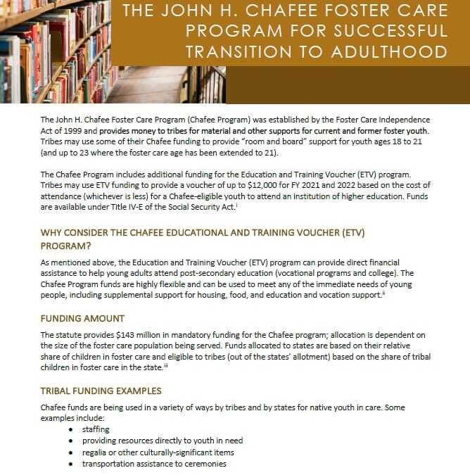 Chafee Program Fact Sheet Cover