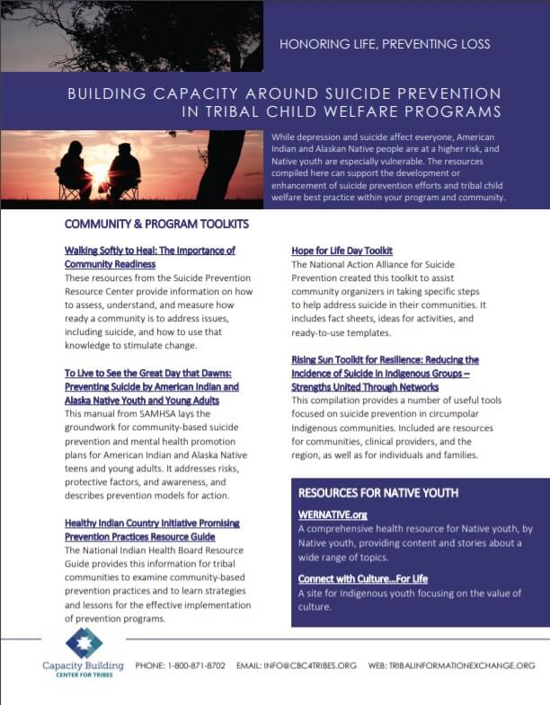 Suicide Prevention Resource List cover