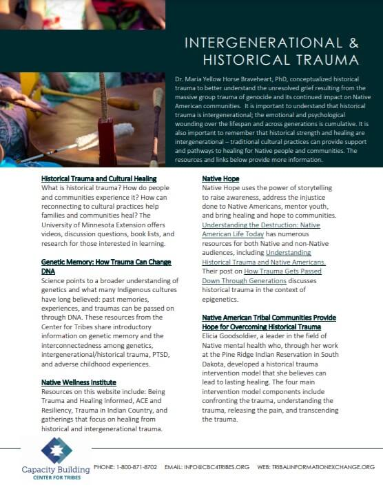Intergeneration Trauma Resource Guide cover