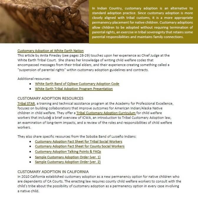 Customary Adoption Resource List cover